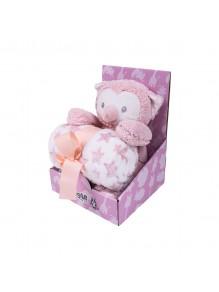 Ćebe i igračka roze sova -...