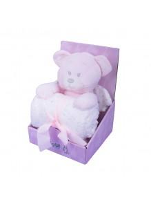 Ćebe i igračka roze meda -...